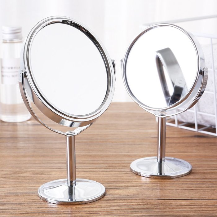 ☆女孩衣著☆日常用品-歐式雙面放大台式旋轉美容小鏡子 攜帶随身化妝鏡小號高清梳妝鏡(NO.07)