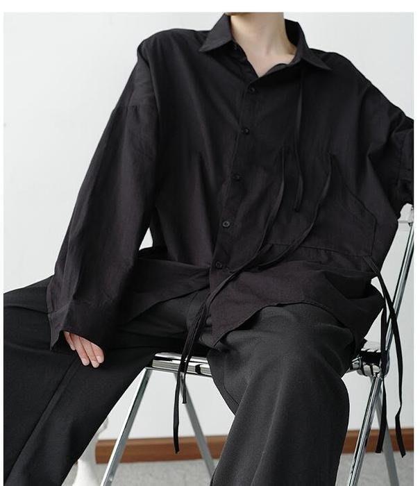 FINDSENSE X  男士 長袖寬松 休閑 簡風不對稱系帶襯衫男韓版寬松襯衫