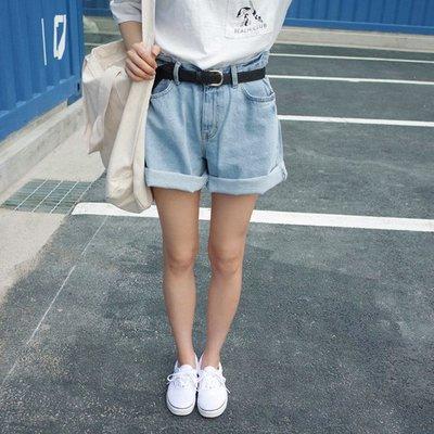 女裝夏裝卷邊胖妹妹顯瘦闊腿熱褲牛仔短褲潮