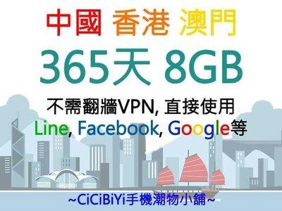 中國聯通4G大中華 中國 香港 澳門三地365天 8GB數據