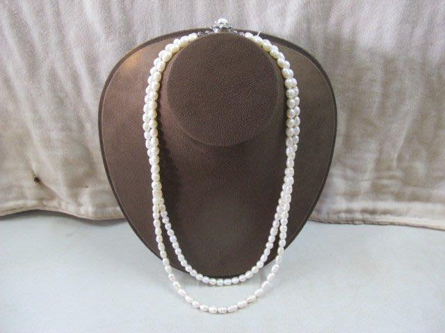 二手舖~ NO.1322 天然珍珠項鍊 母親節 手鍊戒指墜子首飾手環耳環 (珍珠大小約6-8mm)