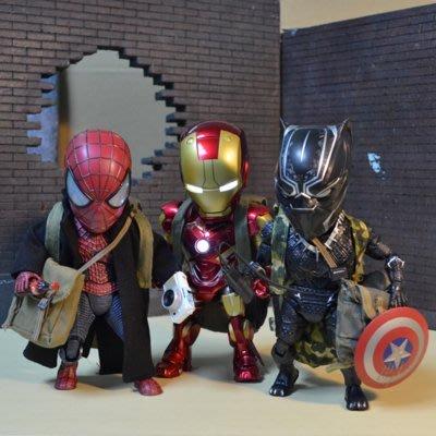 蜘蛛人+鋼鐵人+黑豹 MARVEL 共3組公仔 (每組各包含所屬配件)贈多樣配件