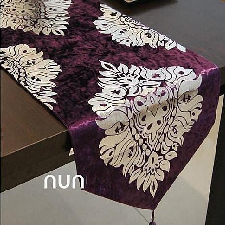 馬士革天鵝絨 時尚奢華簡約 歐式 桌旗 餐旗桌布 二色可選  Q7
