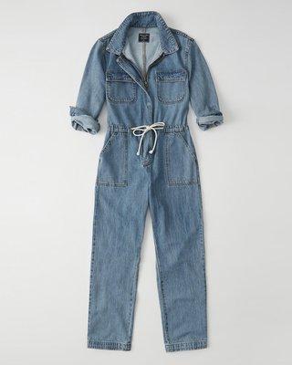 【天普小棧】A&F Abercrombie Utility Denim Jumpsuit連身牛仔長褲跳傘裝XS/S號