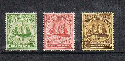 【雲品】特克斯和凱科斯群島Turks & Caicos Islands 1905 Sc 10-12 MH 庫號#67281