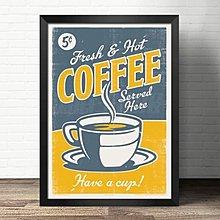 餐廳裝飾畫咖啡館快餐烘焙壁畫酒吧復古貼畫奶茶食材圖譜簡約海報