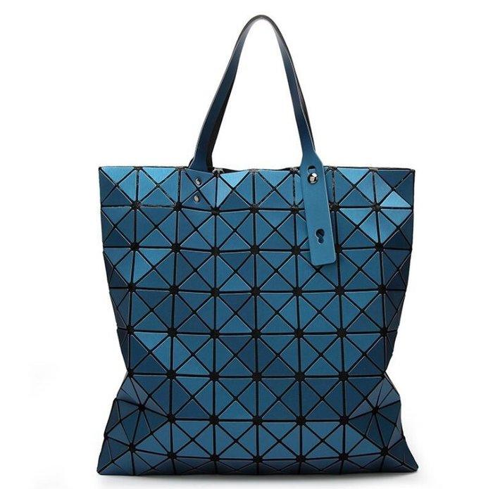 春夏新款啞光女包拼接幾何包菱形折疊單肩包魔方手提大包