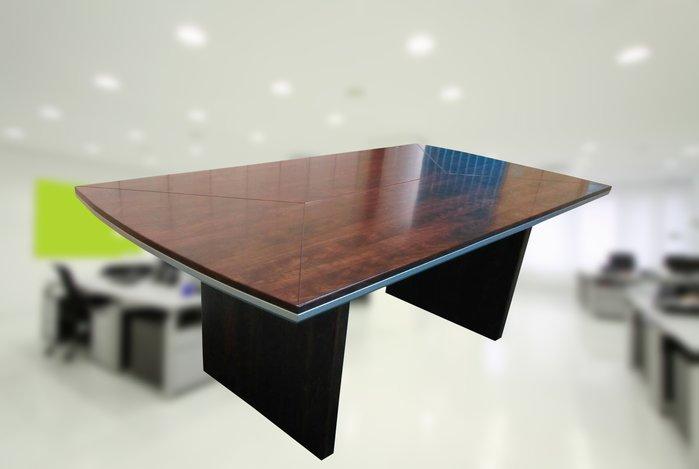 【土城OA辦公家具】   2019漂亮扎實重型船型會議桌 桌面有線條設計  高級款材質好