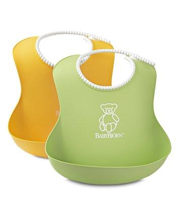 瑞典製正品 BabyBjorn Soft Bib 軟膠防碎屑圍兜(黃色或綠色)