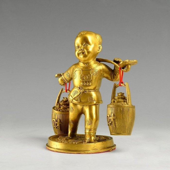 【弘慧堂】 純銅運財童子擺件 送財善財童子 送子家居風水用品擺件壹桶金
