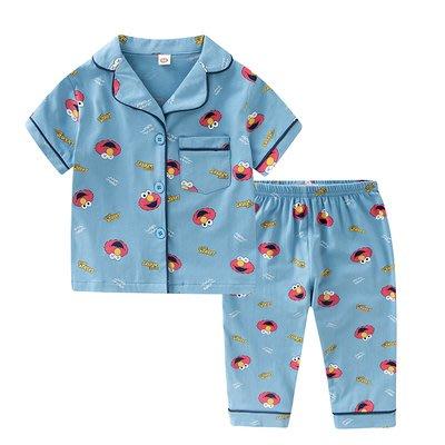 •*~ 辣媽咪衣飾小舖 ~*•❤童裝系列❤K950200韓版兒童夏款超可愛萌款『芝麻街』圖案家居服上衣+長褲二件套