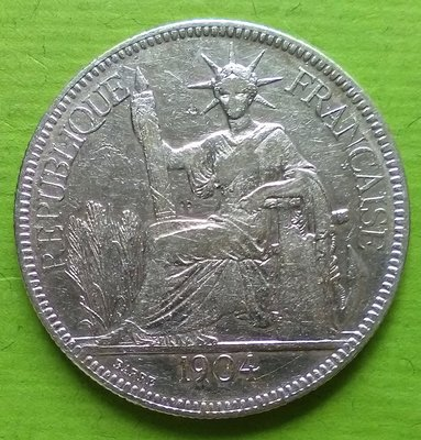 20L-665  (FRENCH INDO-CHINA)法國1904年(A)記. 貿易銀幣 piastre.