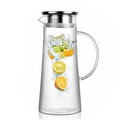 北歐 大容量 冷水壺 涼水壺 高硼矽 耐熱玻璃 錐形 茶壺 花茶壺 不鏽鋼壺 水瓶 露營 野餐 冷飲 果汁