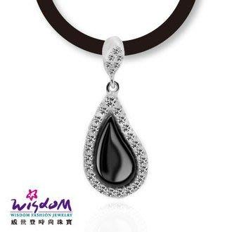 威世登 黑白時尚風 水滴形黑陶瓷鋯石925銀墬-送禮、情人禮、生日禮、流行款、熱銷款-SD00122-BAXX