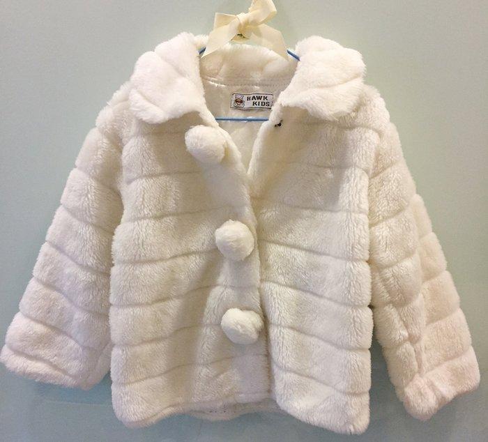 優惠免運~近全新童裝~品質保存良好~純白色長袖毛外套