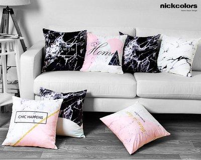 尼克卡樂斯~仿大理石紋方形抱枕 靠枕 ...