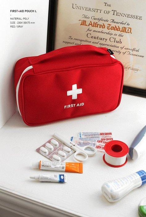 【阿LIN】180841 醫療包(不含內容物) 收納包包 戶外醫療包 小藥包 化妝包 隨身攜帶 可攜式 提把 紅色 灰色
