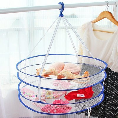 ☜shop go☞【Z023】多功能雙層晾衣藍 折疊式收納籃 透氣網狀洗衣籃 玩具藍 置物網 收納網 洗衣籃