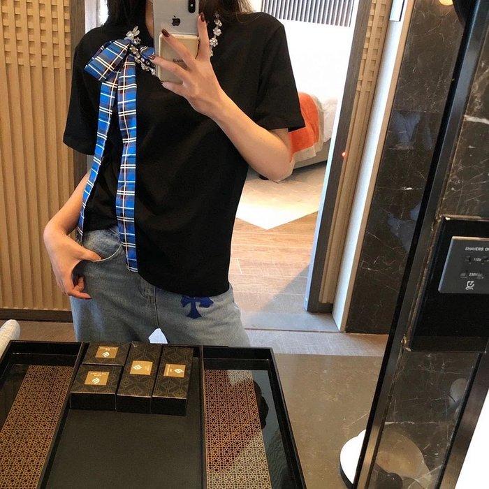 PapaDarling 20SS 獨家訂製款 百搭水鑽絲巾項鍊設計感 短袖圓領T恤 圓領T恤 黑色 白色