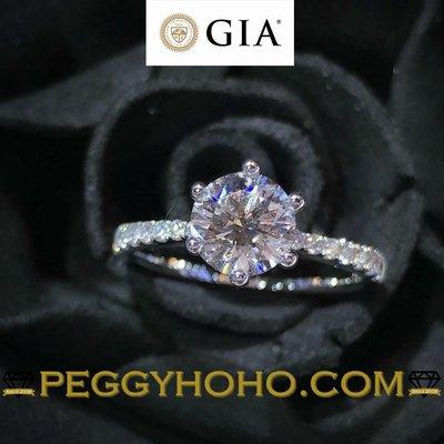 【Peggyhoho】全新18K白金單粒1卡1份 ((配微鑲20份)) 鑽石戒指 |GIA證書 |極白卡裝D色VVS1