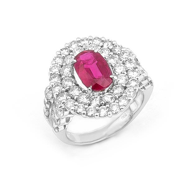 【JHT金宏總珠寶/GIA鑽石專賣】2.12ct天然紅寶鑽戒/材質:PT900(JB19-A40)
