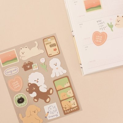 ❅PAVEE❅ 韓國Dash and Dot~ 親親小動物 可重複貼 防水裝飾手帳貼紙