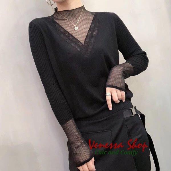 歐美 2020新款 網紗拼接性感微透視V領 薄款半高領羊毛針織衫上衣 四色 (W677)