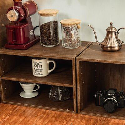 空櫃 書櫃 置物櫃 二層收納空層櫃-層板可抽-淺胡桃木色-2入組【MM-JS3403_JS3403A】