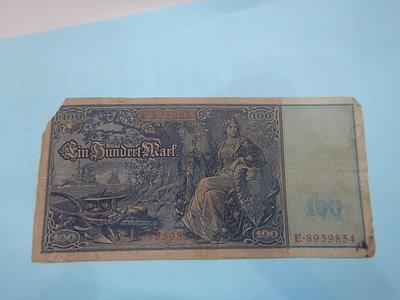 ☆孟宏館☆德國舊馬克1908年100馬克~紙鈔鈔票~H086