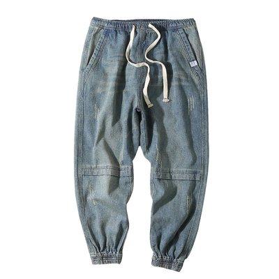 新款潮褲GBOY日系復古休閑牛仔男士寬松小腳哈倫褲春季潮流水洗純色束腳褲