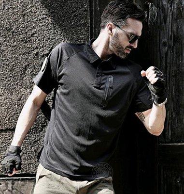 [01] G16 美軍 特勤 POLO衫 黑 ( 透氣排汗衫速乾圓領內衣高爾夫運動登山旅遊迷彩服戰鬥服棉T短T短袖衣服