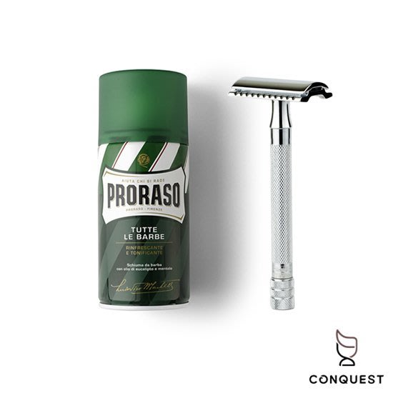 【 CONQUEST 】德國 Merkur 23C 刮鬍刀 + 義大利 Proraso 刮鬍泡 刮鬍入門組 快速便利修容