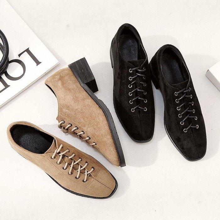 日和生活館 送禮好鞋歐美秋冬新款方頭深口粗跟單鞋女中跟系帶磨砂復古皮鞋女鞋 563D88
