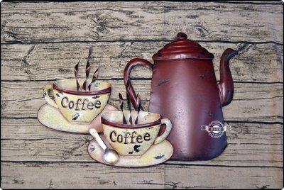 仿舊立體咖啡杯咖啡壺鐵皮畫 美式裝飾壁飾掛飾工業風鐵板畫掛畫壁貼咖啡館紅色手沖壺coffee【【歐舍家飾】】