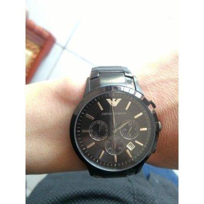 Armani AR2453 阿瑪尼手錶 男士腕錶 黑色不鏽鋼帶三眼計時石英男錶 亞曼尼 手錶 現貨熱賣