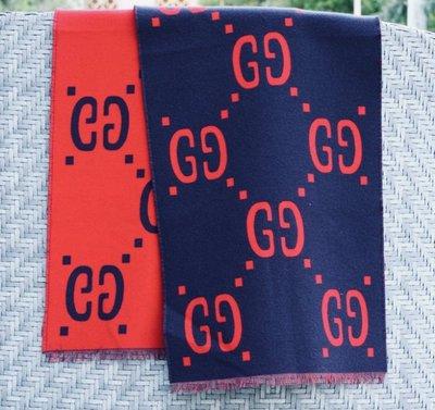 Gucci 495592 GG jacquard stole 羊毛 大 GG 披肩 紅/深藍