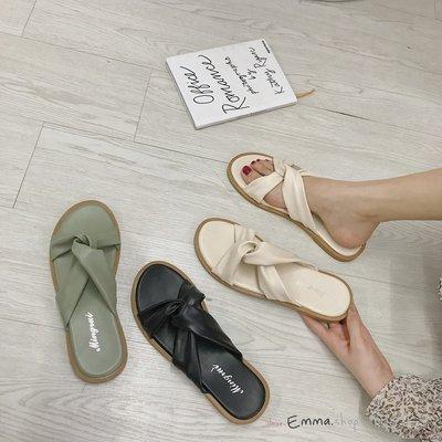 EmmaShop艾購物-韓國IG好物扭結平底涼拖/涼鞋/拖鞋