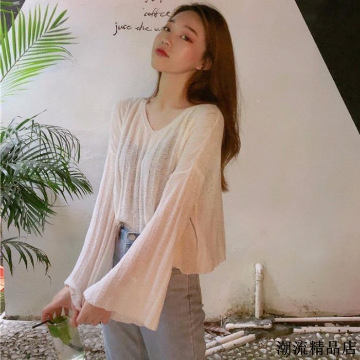 韓版短款薄針織衫女春季新款學生百搭寬松喇叭長袖防曬罩衫潮