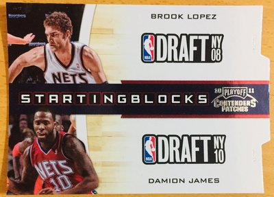 BROOK LOPEZ DAMION JAMES 2010-11 CONTENDERS 218/299 限量切割特卡