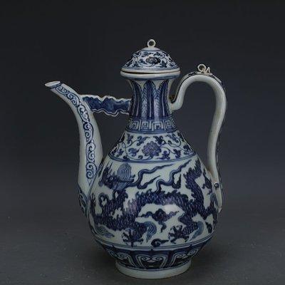 ㊣姥姥的寶藏㊣ 大明宣德青花手繪雙龍紋瓷壺  出土官窯古瓷器古玩古董收藏擺件