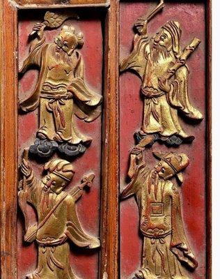 清代 館藏級8片一套掛屏!鎏金8仙人物,大雅風景人物木雕! 大雅!
