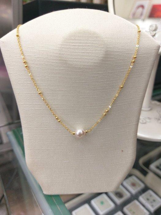 優雅珍珠黃金9999套鍊1.04錢