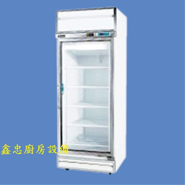 鑫忠廚房設備-餐飲設備:標準型單門玻璃冷藏展示冰箱-賣場有水槽-快速爐-工作台-西餐爐