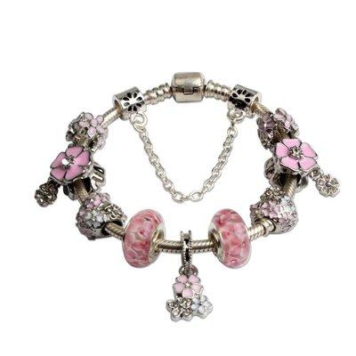 女神手鍊 美麗雙層櫻花手鍊 琉璃滴油精品粉色飾品yq217