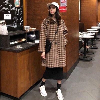 流行格子大衣冬新款韓版中長款加厚森系復古毛呢外套女