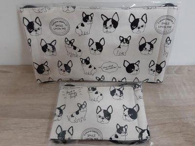 【小茉莉】手作幼童平面口罩/台灣棉布手作口罩→可愛狗狗-米白