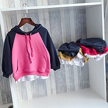 【親子百寶袋】女童衛衣2018新款韓版洋氣兒童長袖連帽上衣女孩寬松套頭t恤潮衣