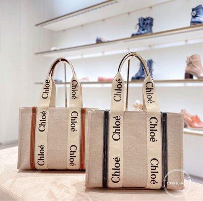 Chloe Medium Woody tote 全新 現貨 中號 中款 帆布 托特包 購物包 專櫃新款 燕麥色 米白色 焦糖色 咖啡色 駝色 藍色 北市可面交