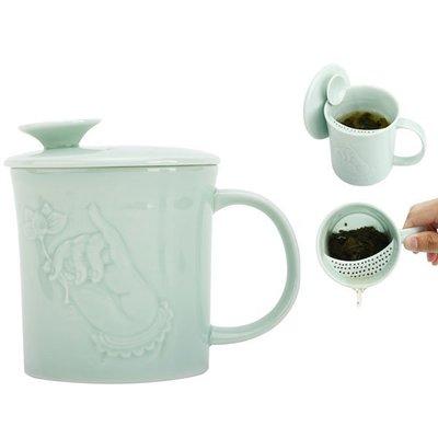 功夫茶具佛心蓮自在杯青瓷泡茶杯陶瓷帶蓋過濾辦公杯子泡茶杯喝茶杯