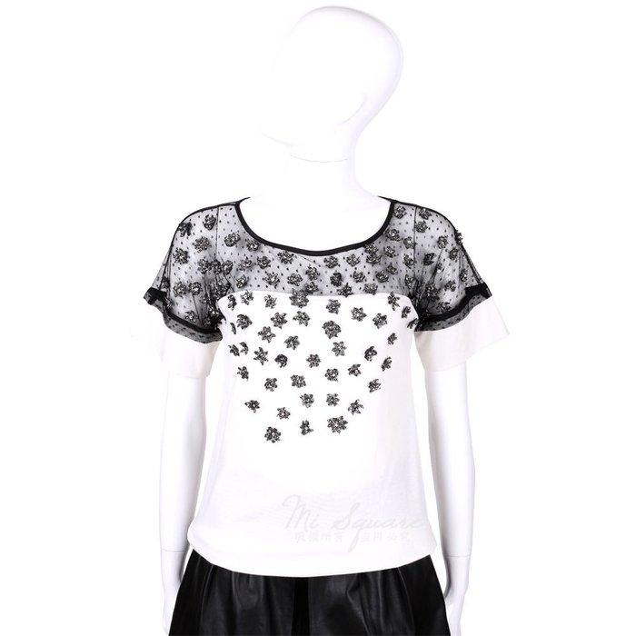 米蘭廣場 CLASS roberto cavalli 白色拼接蕾絲珠花短袖上衣 1520563-20